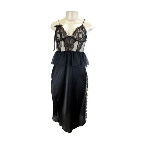 Victoria's Secret Designer Collection 100% Silk & Lace Slip Peplum Black Medium