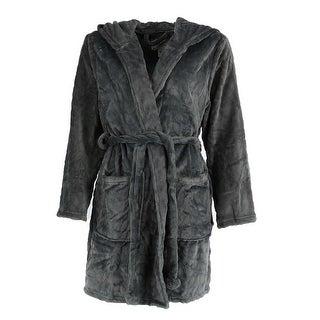 PJ Couture Women's Plush Hooded Short Robe