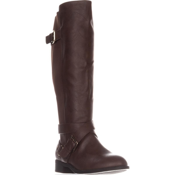 TS35 Vada Wide Calf Flat Riding Boots, Cognac