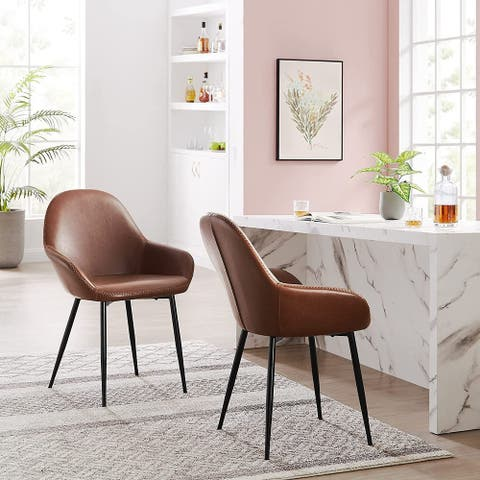 """Dining Chairs Set of 2, 33.07"""" H Kitchen Chairs with Arms, PU Leather Upholstered Back and Metal Legs - N/A"""