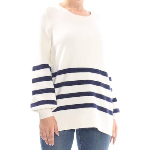 MICHAEL KORS Womens Ivory Striped Sweater Size: L