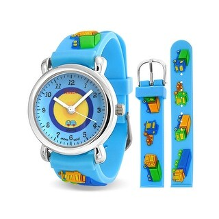 Bling Jewelry Blue Truck Analog Kids Watch Stainless Steel Back Photo Dial