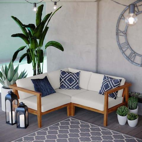 Bayport Outdoor Patio Teak Wood 3-Piece Sectional Sofa Set