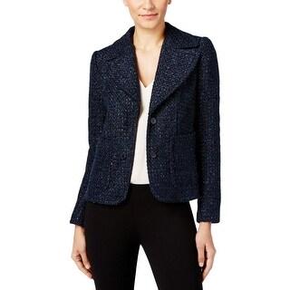 MICHAEL Michael Kors Womens Two-Button Blazer Tweed Metallic