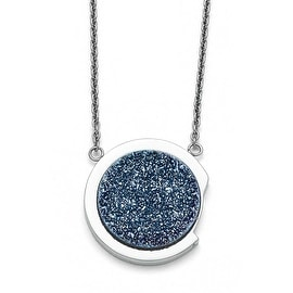 Chisel Stainless Steel Polished with Blue Druzy Stone Necklace (1 mm) - 17.75 in
