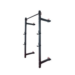 AKONZA Wall Mount Foldable Adjustable Power Rack Mounted Squat Gym