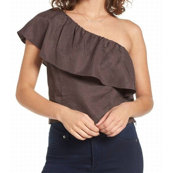 Astr Charcoal Gray Womens Size Small S Popover One Shoulder Blouse