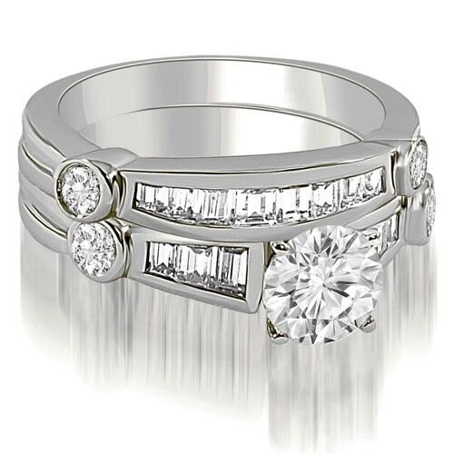 1.80 cttw. 14K White Gold Antique Round And Baguette Cut Diamond Bridal Set