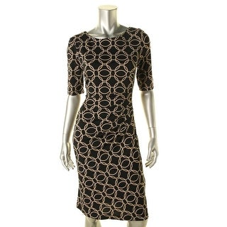 Connected Apparel Womens Printed Ruched Wear to Work Dress - 10