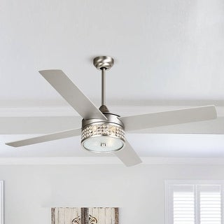 Link to 52-inch Satin Nickel 4-Blades Ceiling Fan with Crystal Shade - 52-in Similar Items in Ceiling Fans