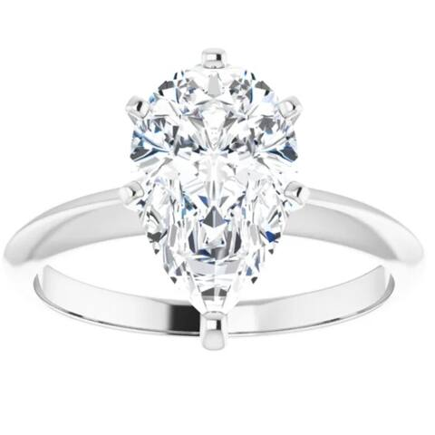 2Ct Pear Moissanite Solitaire Engagement Ring 14k White Gold