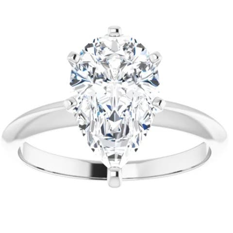 3Ct Pear Moissanite Solitaire Engagement Ring 14k White Gold
