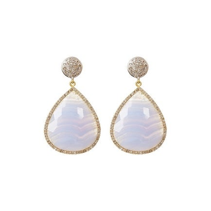 Genuine Diamond in Sterling Silver Blue Lace Agate Drop Shape Diamond Earring, Blue Shell Earring