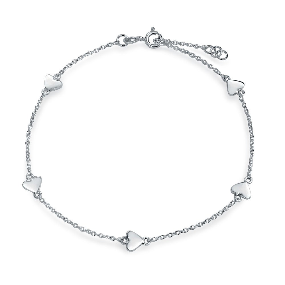 Fine Jewelry Fine Anklets Womens 925 Sterling Silver Moon Open Link Anklet Italian Made
