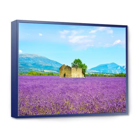 Designart 'Old House and Tree in Lavender Field' Landscape Framed Canvas Art