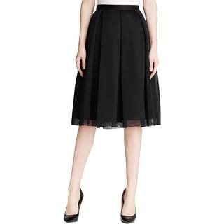 Aqua Womens A-Line Skirt Mesh Pleated