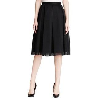 Aqua Womens A-Line Skirt Mesh Pleated