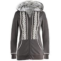 Women's White Lace Zip Hoodie  - Charcoal Gray
