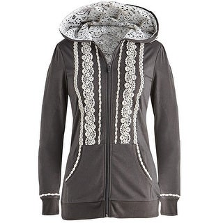 Women's White Lace Zip Hoodie - Charcoal Gray