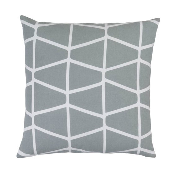 "18""Platinum Gray and Cotton White Geometric Woven Decorative Throw Pillow"