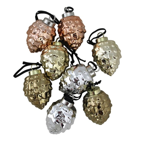 "Set of 8 Ceramic Pine Cone Ornaments with Metallic Finish 2.75"" - silver"