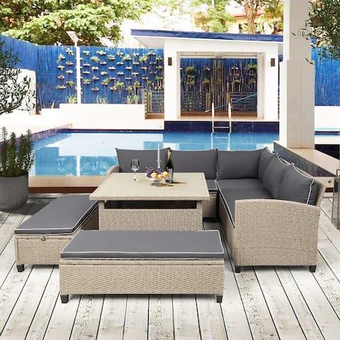 Nestfair 6-Piece Patio Furniture Set Outdoor Wicker Rattan Sectional Sofa