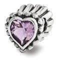 Sterling Silver Reflections Amethyst Heart Bead (4mm Diameter Hole) - Thumbnail 0