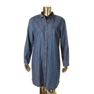 Eileen Fisher Womens Shirtdress Denim Button-Front