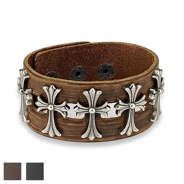Five Metal Celtic Crosses Center Adjustable Leather Bracelet (Sold Ind.)