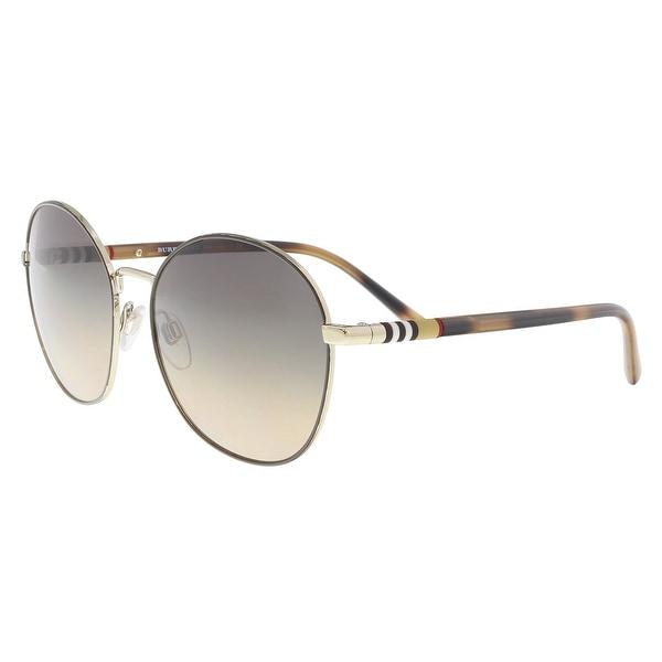 a73d1fd9603 Shop Burberry BE3094 1257G9 Light Gold Round Sunglasses - 56-17-140 ...