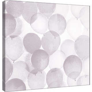 "PTM Images 9-101177  PTM Canvas Collection 12"" x 12"" - ""Airy Balloons in Grey A"" Giclee Celebrations Art Print on Canvas"