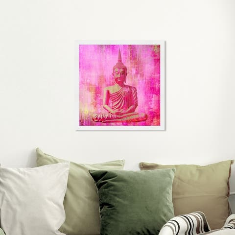 Oliver Gal 'Buddha Pink' Spiritual and Religious Framed Wall Art Prints Religion - Pink, Orange