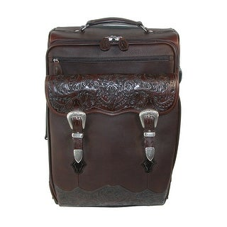 3 D Belt Company Hand Tooled Leather Rolling Carry On Luggage - Brown
