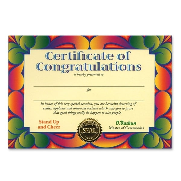 "Pack of 6 ""Certificate Of Congratulations"" Certificates 5"" x 7"" - N/A"