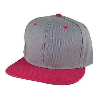 Hip Hop Fashion 2Tone High Crown Snapback Hat Cap by CapRobot - Grey Hot Pink Visor