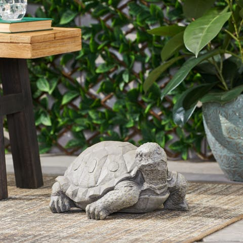 Irwington Outdoor Cast Stone Outdoor Turtle Garden Statue by Christopher Knight Home