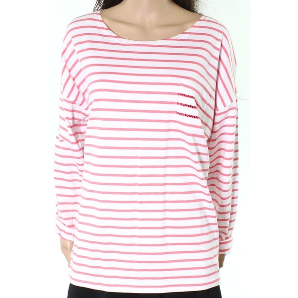 fef4a808b2c Shop Joules NEW White Pink Womens Size 14 Striped Sequined Pocket Knit Top  - Free Shipping On Orders Over $45 - Overstock - 20179885