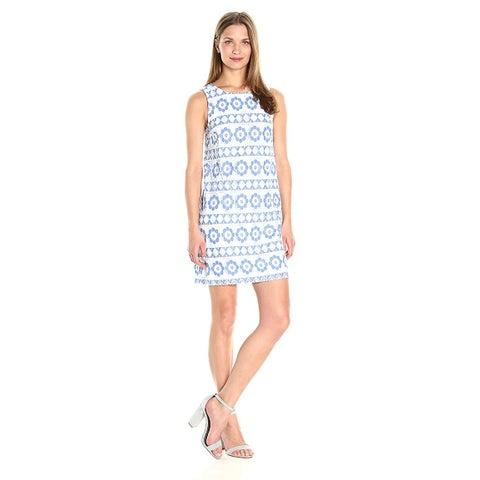Kensie Lace Sleeveless Shift Dress Vivid Blue Combo