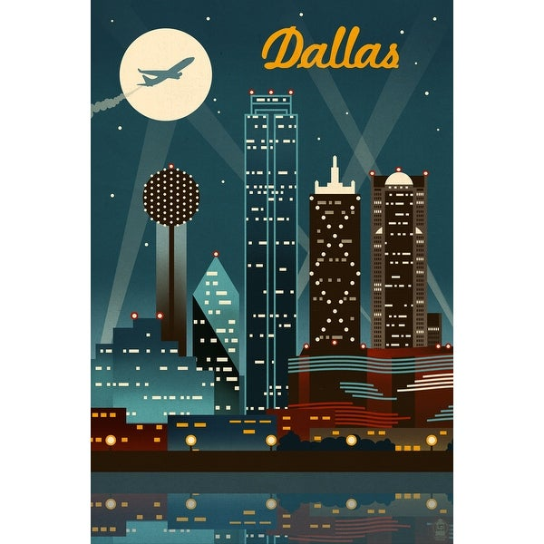 Dallas, TX - Retro Skyline - LP Artwork (100% Cotton Towel Absorbent)