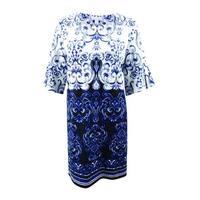 Charter Club Women's Plus Size Printed Shift Dress (3X, Modern Blue Combo) - Modern Blue Combo - 3X