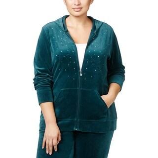 Karen Scott Sports Womens Plus Athletic Jacket Velour Embellished
