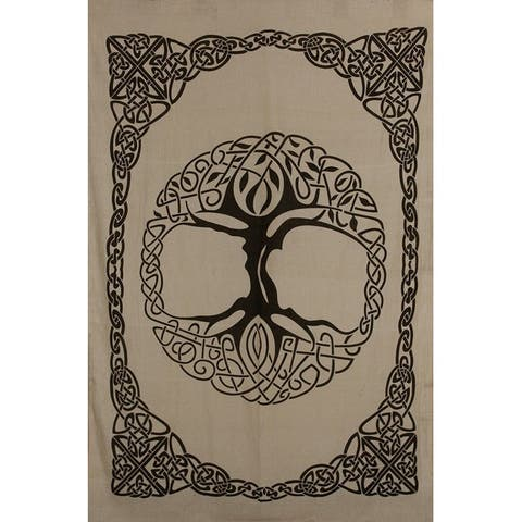 Celtic Tree of life Cotton Tapestry Bedspread Beach Sheet Dorm Decor with Fringes