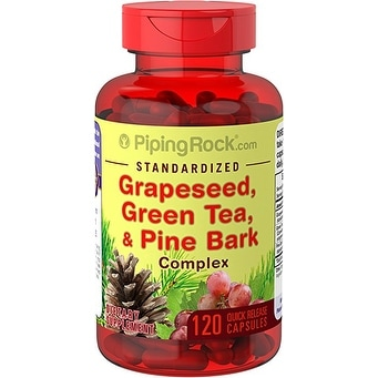 Piping Rock Standardized Grapeseed, Green Tea & Pine Bark Complex 120 Quick Release Capsules Dietary Supplement - 120 cap