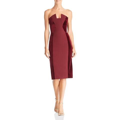 Black Halo Womens Party Dress Velvet Inset Mixed Media - Smashing Berry