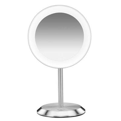 Conair Round Shaped Led Single-Sided Lighted Makeup Mirror; 8X Magnification; Satin Chrome Finish