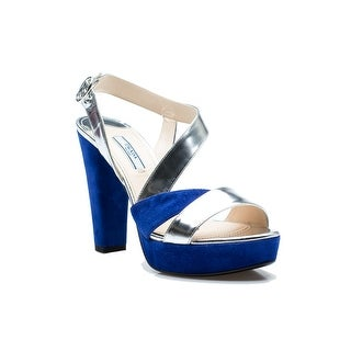 Prada Women's Royal Blue Silver High Heel Suede Shoes