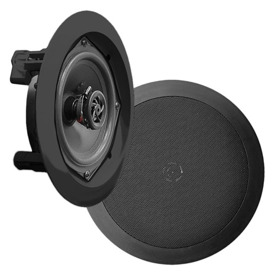 In-Wall / In-Ceiling Dual 5.25-inch Speaker System, 2-Way, Flush Mount, Black