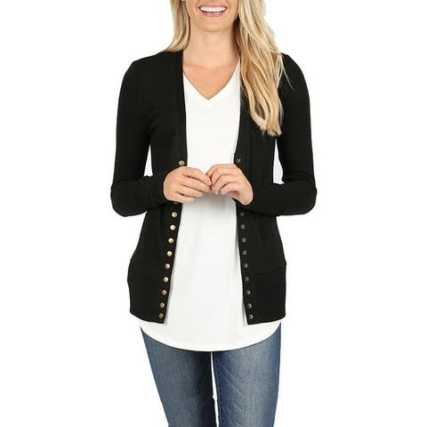 NioBe Clothing Womens Long Sleeve Snap Button Cardigan