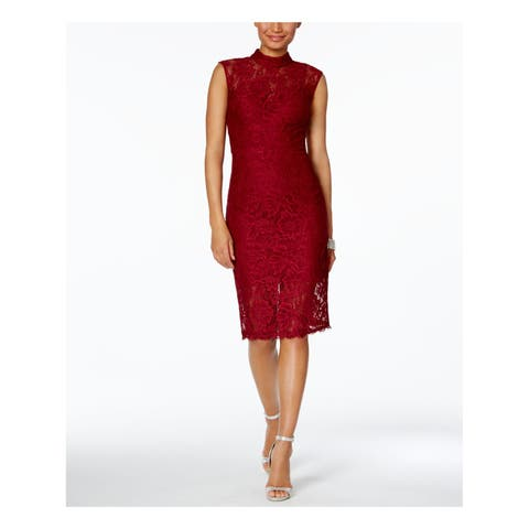 BETSY & ADAM Womens Burgundy Lace Overlay Sleeveless Turtle Neck Knee Length Body Con Cocktail Dress Size: 2