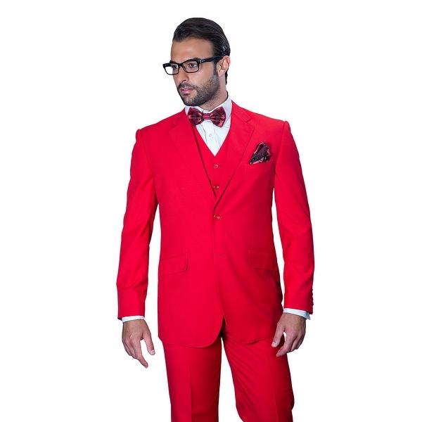 ST-100 Men's 3pc Solid RED Suit, Modern Fit, 2 Button, 2 Side Vent, Flat Front Pants